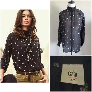 CAbi Embroidered Sheer Floral Blouse Size XXS